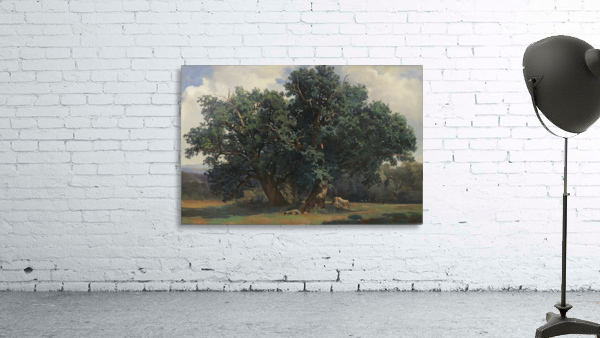 Painting of a big green tree