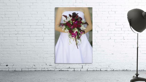 Bride's Bouquet And Wedding Dress