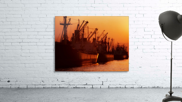 Shipping Freighters At Sunset
