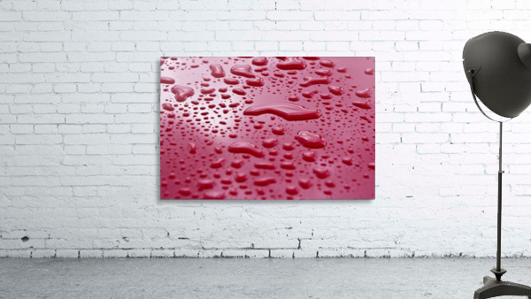 Liquid Drops On Red Surface