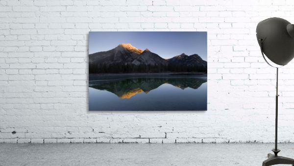Mirror Image Of A Mountain In Water, Mount Lorette, Kananaskis, Alberta, Canada