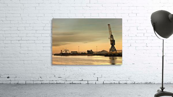 Tyne And Wear, Sunderland, England; Crane At A Shipping Dock