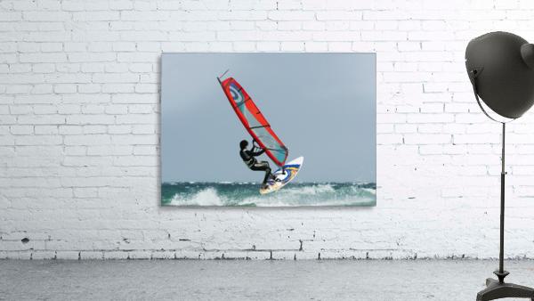 A Windsurfer In The Water; Tarifa, Cadiz, Andalusia, Spain