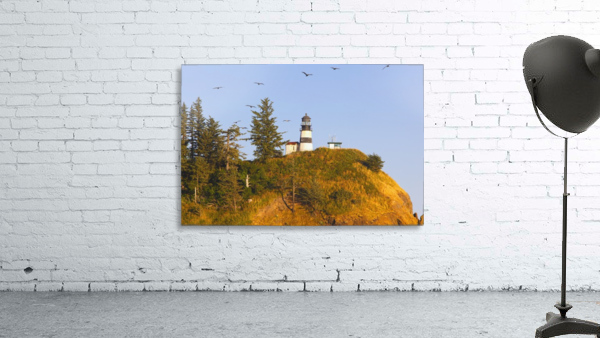 Birds In Flight Over Cape Disappointment Lighthouse; Ilwaco, Washington, United States of America