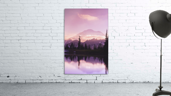 Sunset and a small reflecting pond near tipsoo lake mt. rainer national park near seattle;Washington united states of america