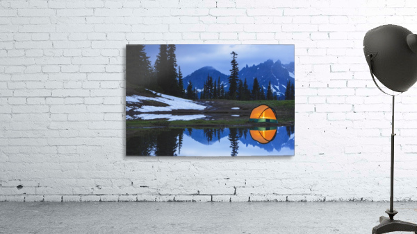 Camping tent at sunset by a small reflecting pond near tipsoo lake mount rainer national park near seattle;Washington united states of america