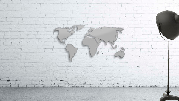 World Map Grey Style