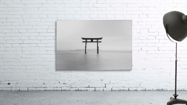 Black and white image of a floating shrine on a lake; Takashiyama, Shiga, Japan