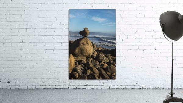 Stones have been balanced on Neahkahnie Beach; Manzanita, Oregon, United States of America