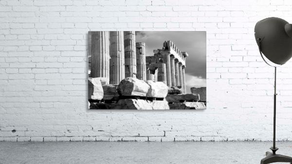 Mono piles of stones before ruined Parthenon; Athens, Attica, Greece