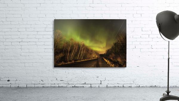 Aurora borealis over road; Thunder Bay, Ontario, Canada