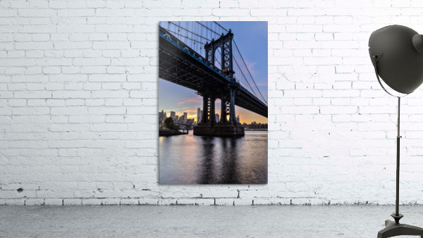 Manhattan Bridge and NYC skyline at sunset, Brooklyn Bridge Park; Brooklyn, New York, United States of America
