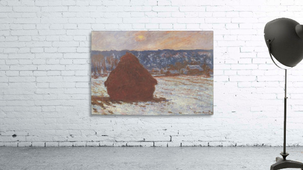 Haystacks, snow, covered the sky by Monet