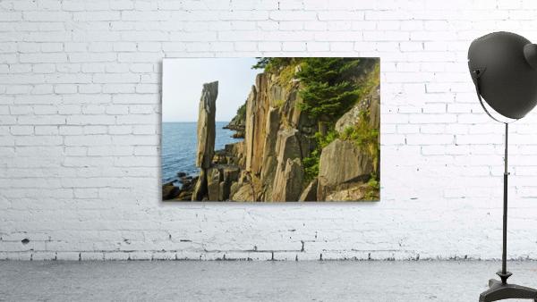 Balancing rock, basalt rock cliffs, Bay of Fundy; Long Island, Nova Scotia, Canada