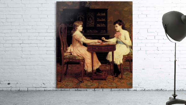 Two girls playing cards