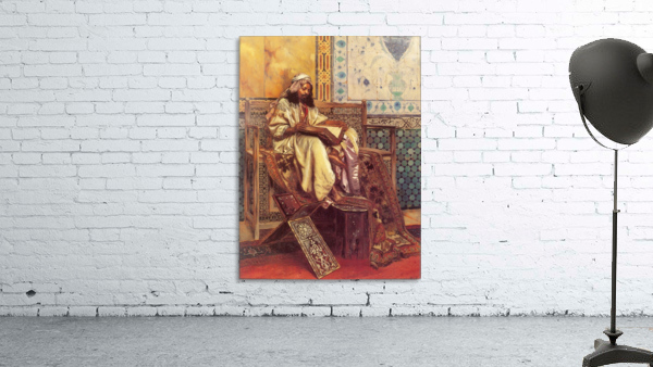 An Oriental man reading