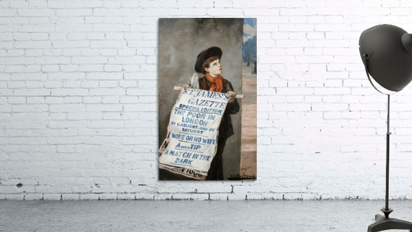 A small boy advertising the news