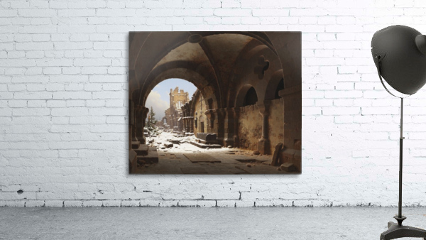 Blick auf die Kirchenruine im Winter