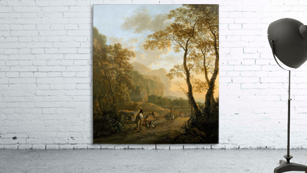 Landscape with resting travellers and oxcart