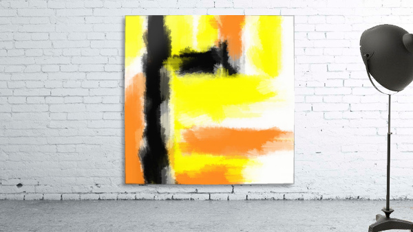 orange yellow and black painting abstract with white background ...