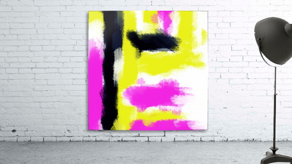 pink yellow and black painting abstract with white background