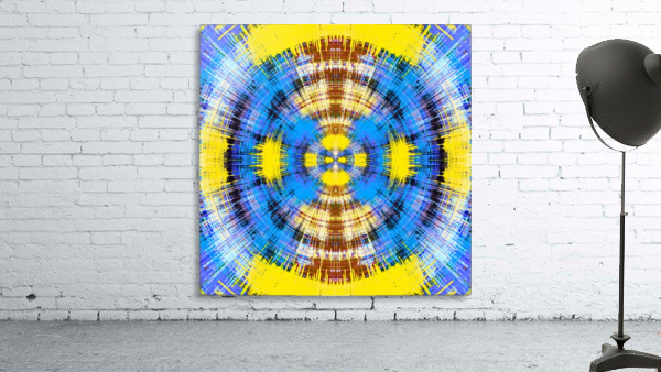 geometric blue yellow and brown circle plaid pattern abstract background