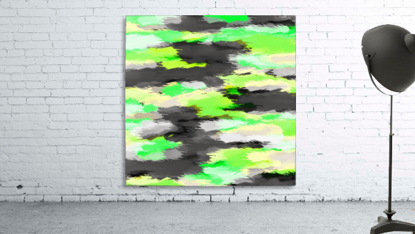 psychedelic camouflage splash painting abstract in green yellow and black