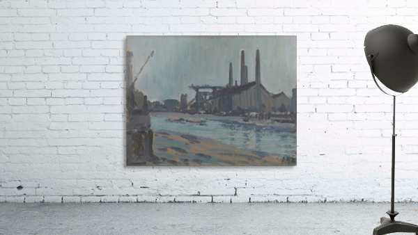 Landscape with industrial buildings by a river