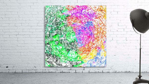 psychedelic splash painting abstract in pink purple green blue orange and yellow