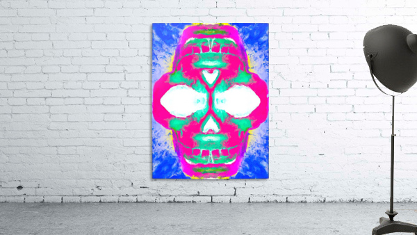 painting pink smiling skull head with blue and yellow background