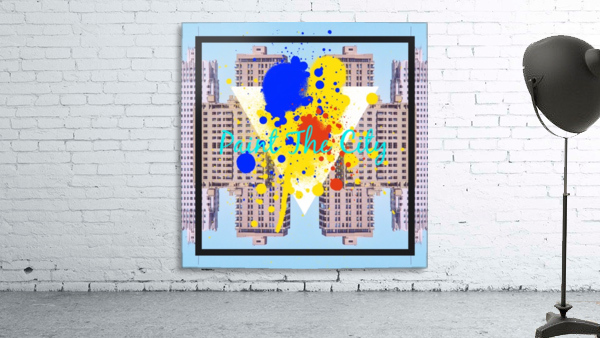 paint the city yellow blue and orange with buildings background
