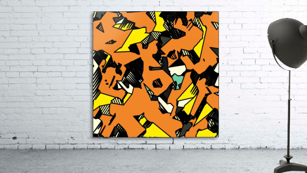 grunge geometric drawing and painting abstract in brown yellow and black