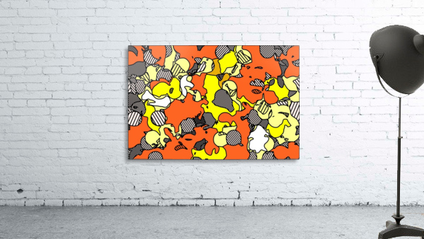 psychedelic drawing and painting abstract in orange and yellow