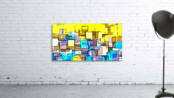 geometric graffiti square pattern abstract in yellow blue and brown