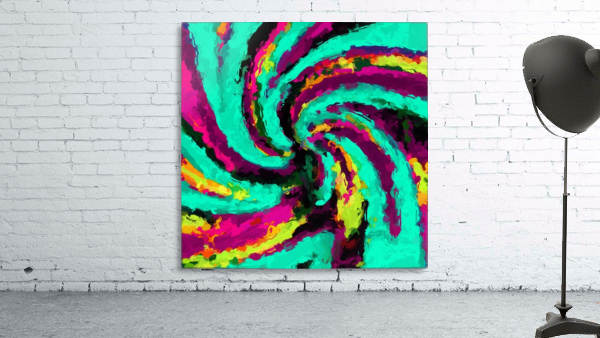 psychedelic graffiti watercolor painting abstract in green blue pink purple and yellow