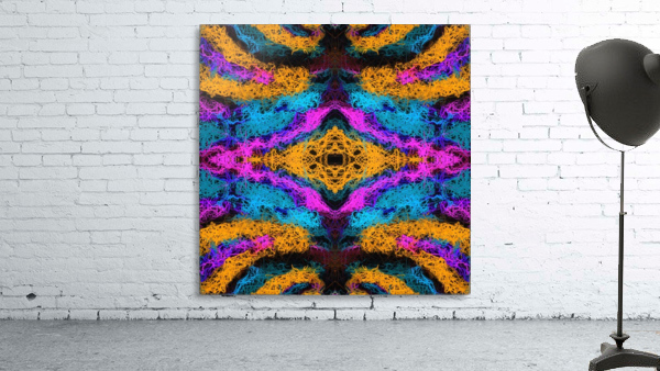 psychedelic graffiti geometric drawing abstract in pink orange blue