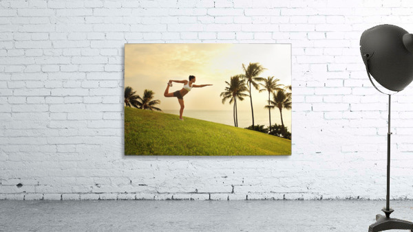 Hawaii, Oahu, Female Doing A Yoga Pose, Stretching On A Hill Overlooking Ocean, Palm Trees And Sunset.