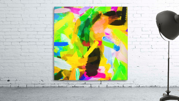 psychedelic splash painting texture abstract in green yellow pink blue