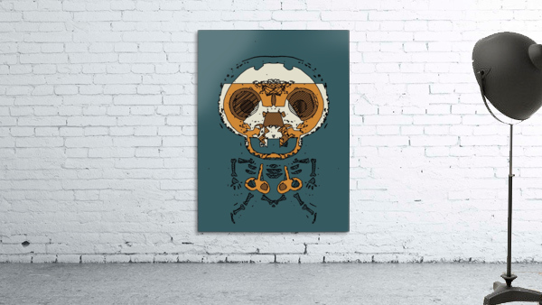 orange and brown skull and bone graffiti drawing with green background