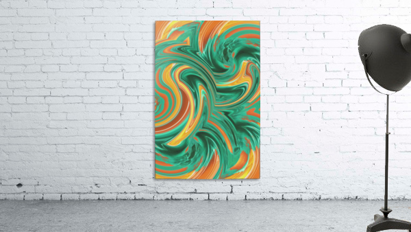 psychedelic graffiti wave pattern painting abstract in green brown yellow