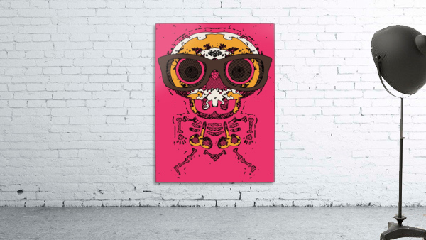 funny skull and bone graffiti drawing in orange brown and pink