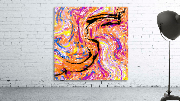 splash painting abstract in pink orange yellow blue and black