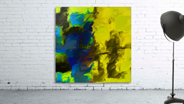 psychedelic splash painting abstract in yellow blue and black