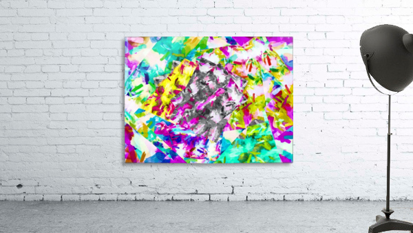 psychedelic splash painting abstract in pink blue yellow green purple