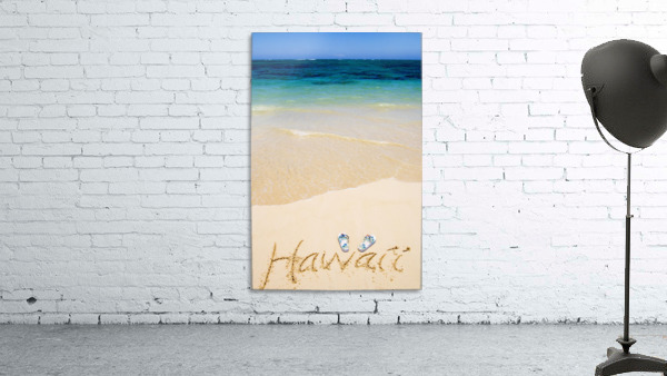 USA, Hawaii, Ocean in background; Kailua, Flipflops and Hawaii written in sand