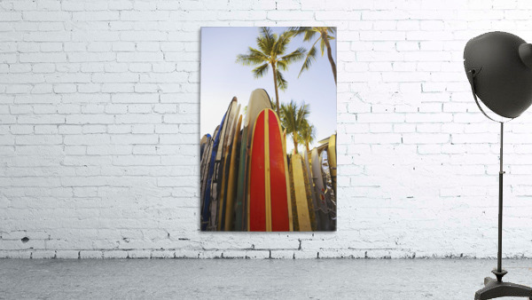 USA, Hawaii, Oahu, Close up view of colorful surfboards in surfboard rack on Waikiki Beach; Waikiki