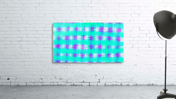 plaid pattern graffiti painting abstract in blue green and pink