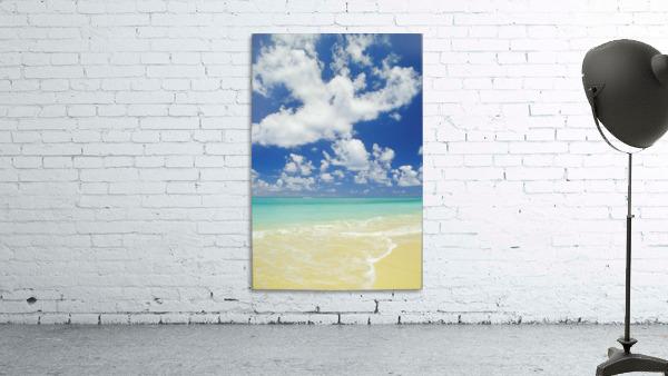 Hawaii, Oahu, Lanikai; Gentle Wave Washing Ashore On Beach, Turquoise Water And Blue Sky.