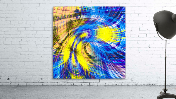 geometric psychedelic splash abstract pattern in blue and yellow