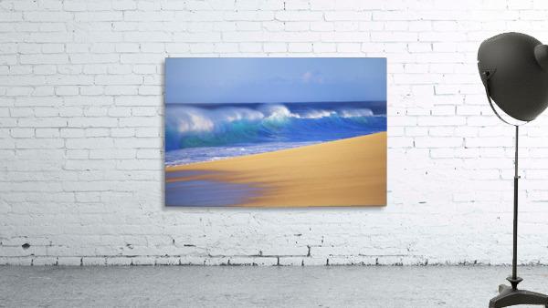 Shorebreak Waves Along Sandy Beach, Blue Sky